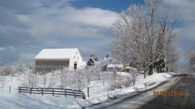 Barn in Snow - Stanley Hill Road. Photo contributed by Bernie Welch