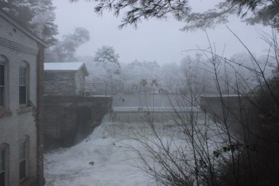 Lombard Dam in Vassalboro, outlet stream.  Photo taken by Mary Sabins.