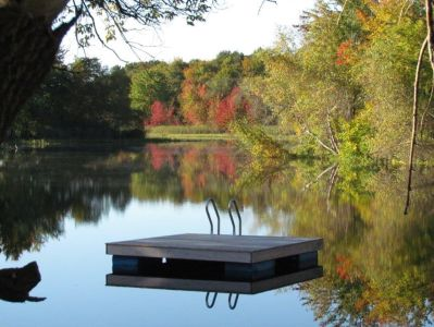 North Village swimming area in the fall.  Property owned by Ray Breton. Photo by Mary Sabins.